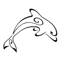 Stylised dolphin tattoo