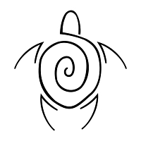 Stylized spiral turtle tattoo
