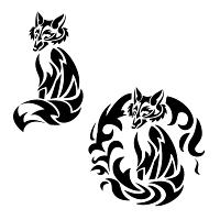 Tribal fox tattoo - fire fox