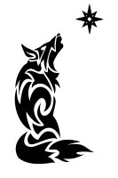 Howling wolf and star tribal tattoo