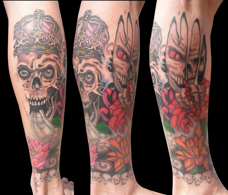 PapaChangoArt - Skulls n flowers