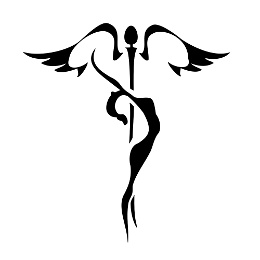 Caduceus and woman tattoo