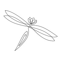 Lotus dragonfly lineart tattoo